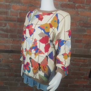 Vintage Women's Sweater Pullover Ivory Multi Color